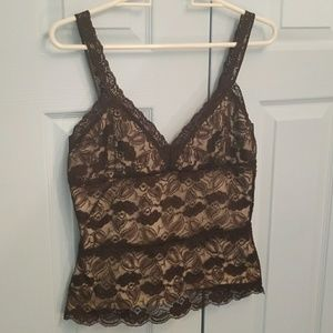 Sleeveless brown lace over cream top